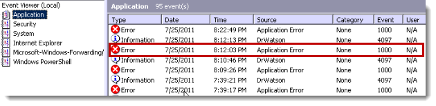 """Double-click the event log """"Application Error"""""""